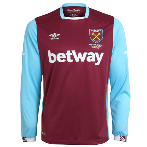 Umbro West Ham United LS Home Jersey 2016-17 Mens Claret/Blue