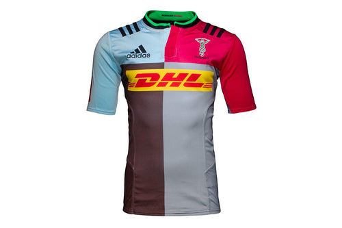 adidas Harlequins Rugby Home Player Issue Jersey Mens Red/Blue