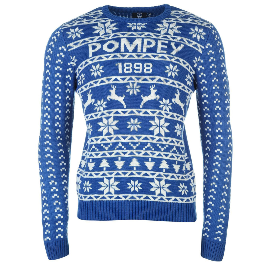 Portsmouth FC Pompey Christmas Jumper Blue Juniors