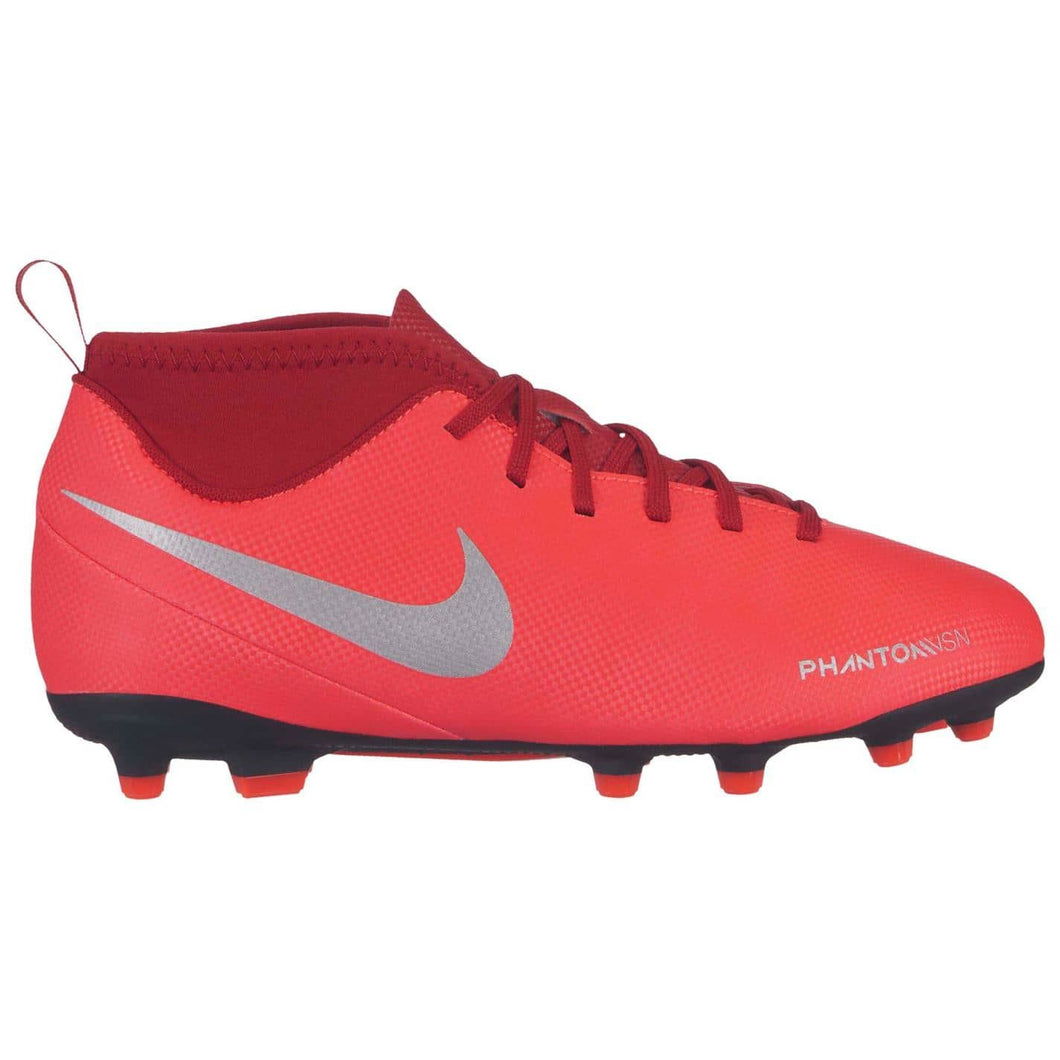 Nike Phantom Vision Club DF FG Football Boots Junior Boys Red/Silver