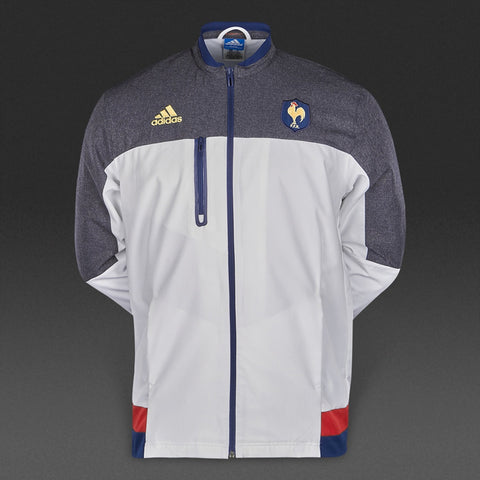 adidas France FFR Rugby Anthem Jacket Mens White/Grey