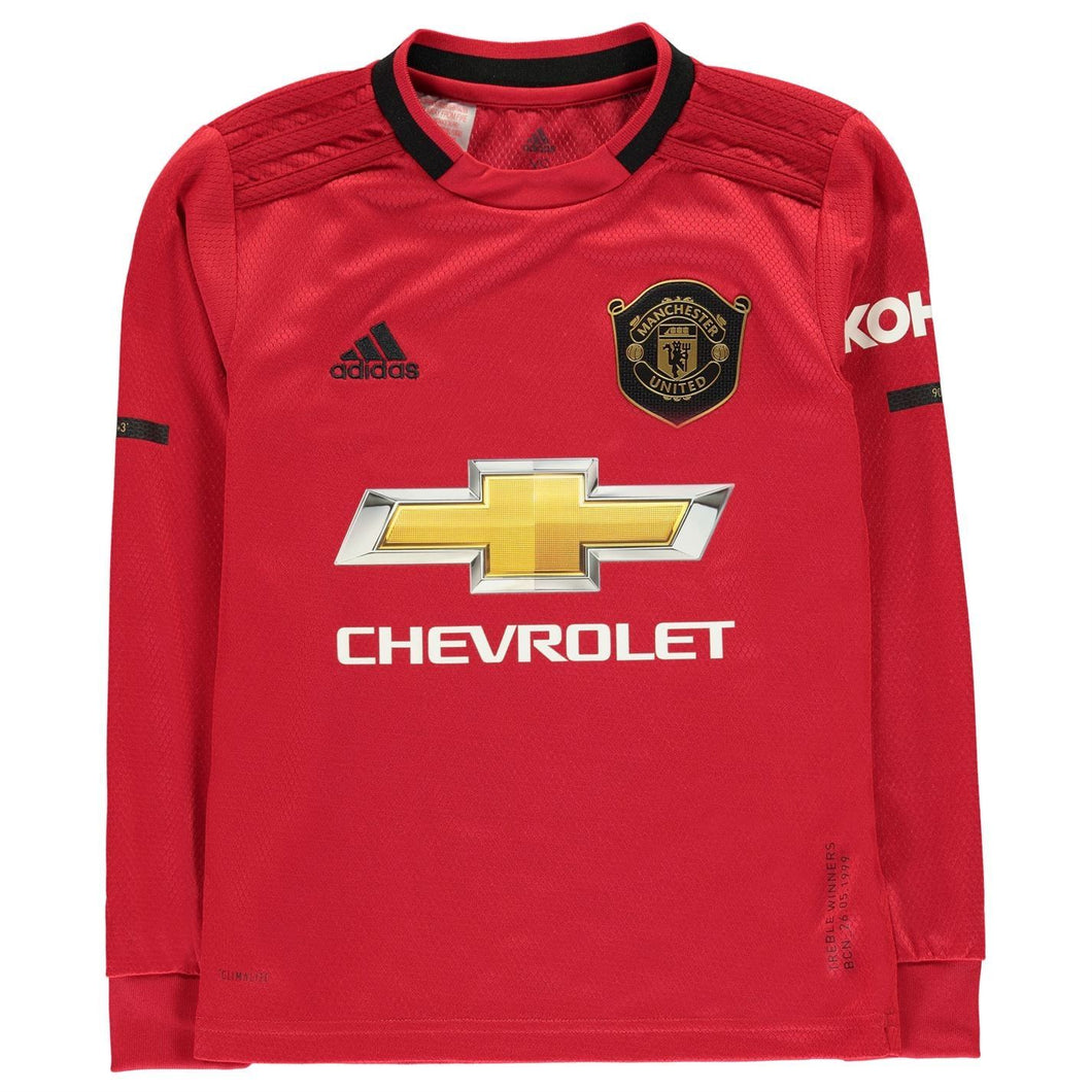 adidas Manchester United Home LS Shirt 2019 20 Juniors Red