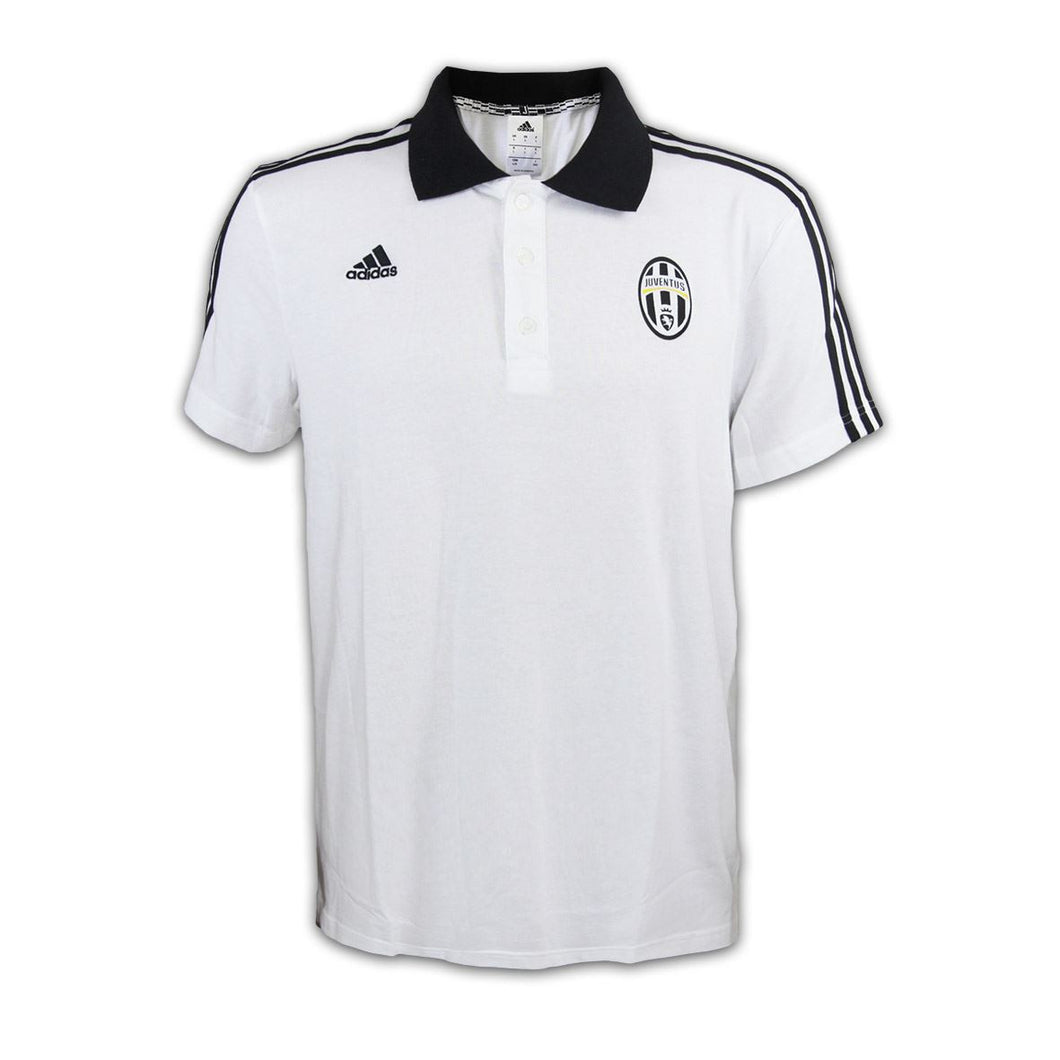 adidas Juventus 3 Stripe Polo Shirt White/Black Mens