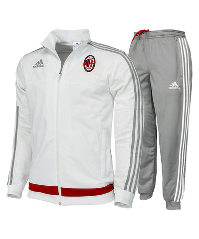 adidas AC Milan Presentation Tracksuit 2 Piece Mens White/Grey