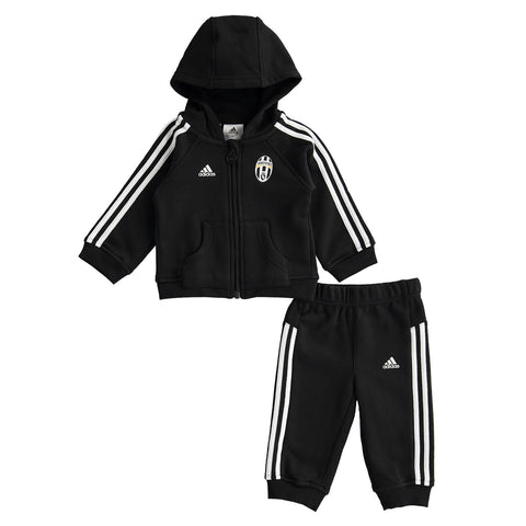 adidas Juventus 3 Stripe Jogger Suit Black Infants