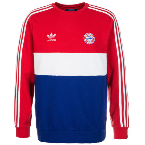 adidas Bayern Munich Crew Sweatshirt Mens Red/White/Blue