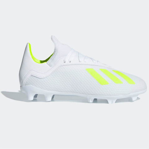 adidas X 18.3 FG Football Boots Junior Boys White/Yellow