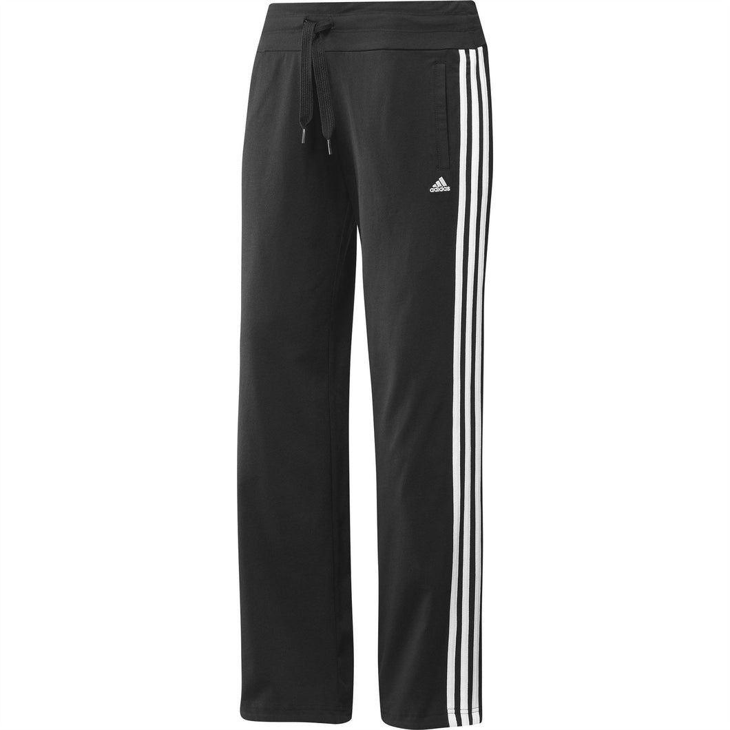 adidas Essentials 3 Stripe Knit Sweat Pants Black/White Womens