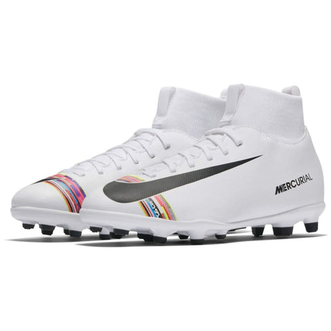 Nike Mercurial Superfly Club DF FG Football Boots Junior Boys White/Platinum