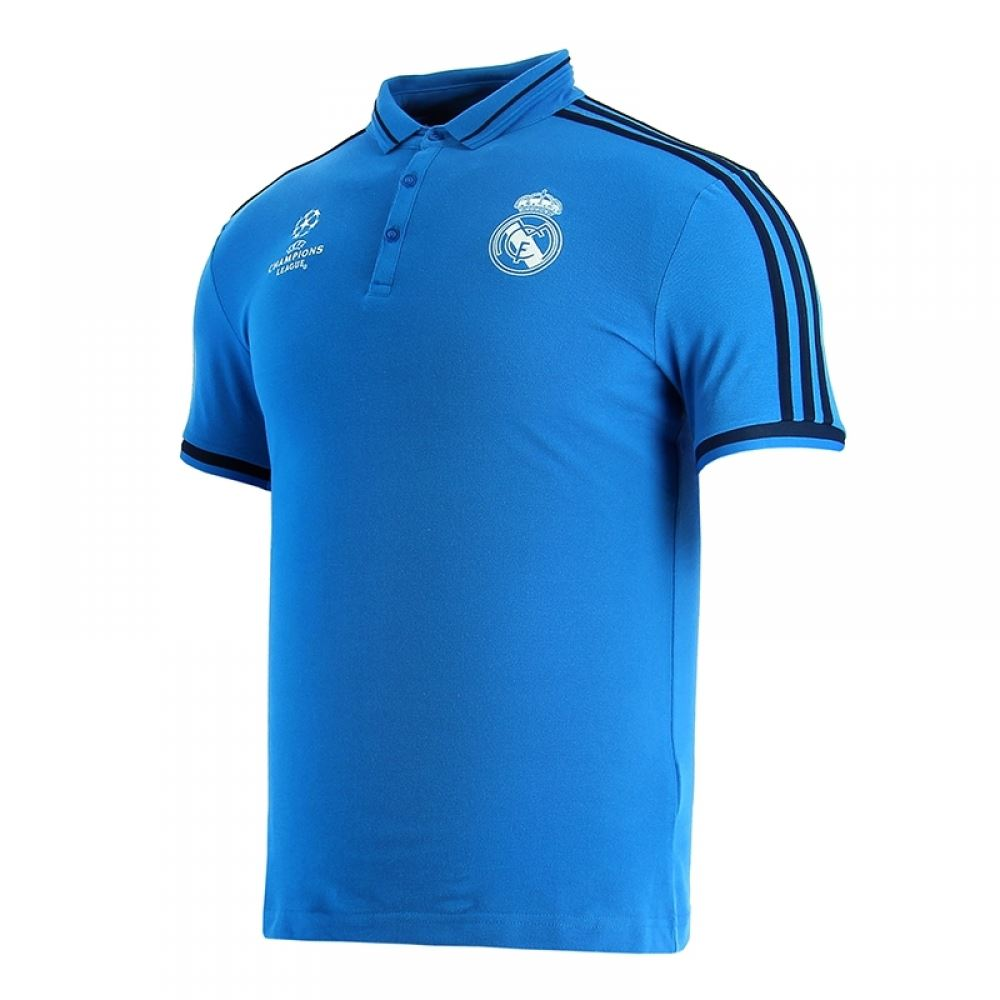 adidas Real Madrid UEFA Champions League Polo Shirt Blue Mens