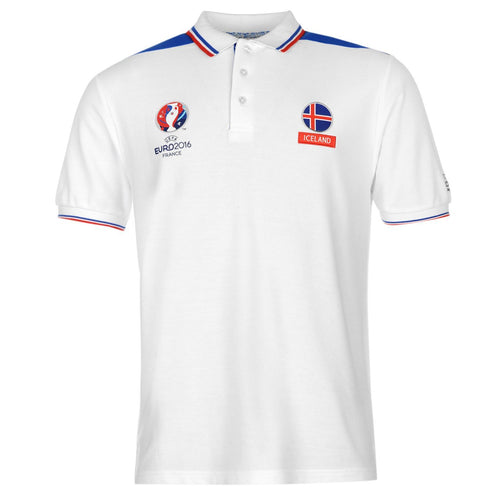 UEFA EURO 2016 Iceland Polo Shirt White/Blue Mens