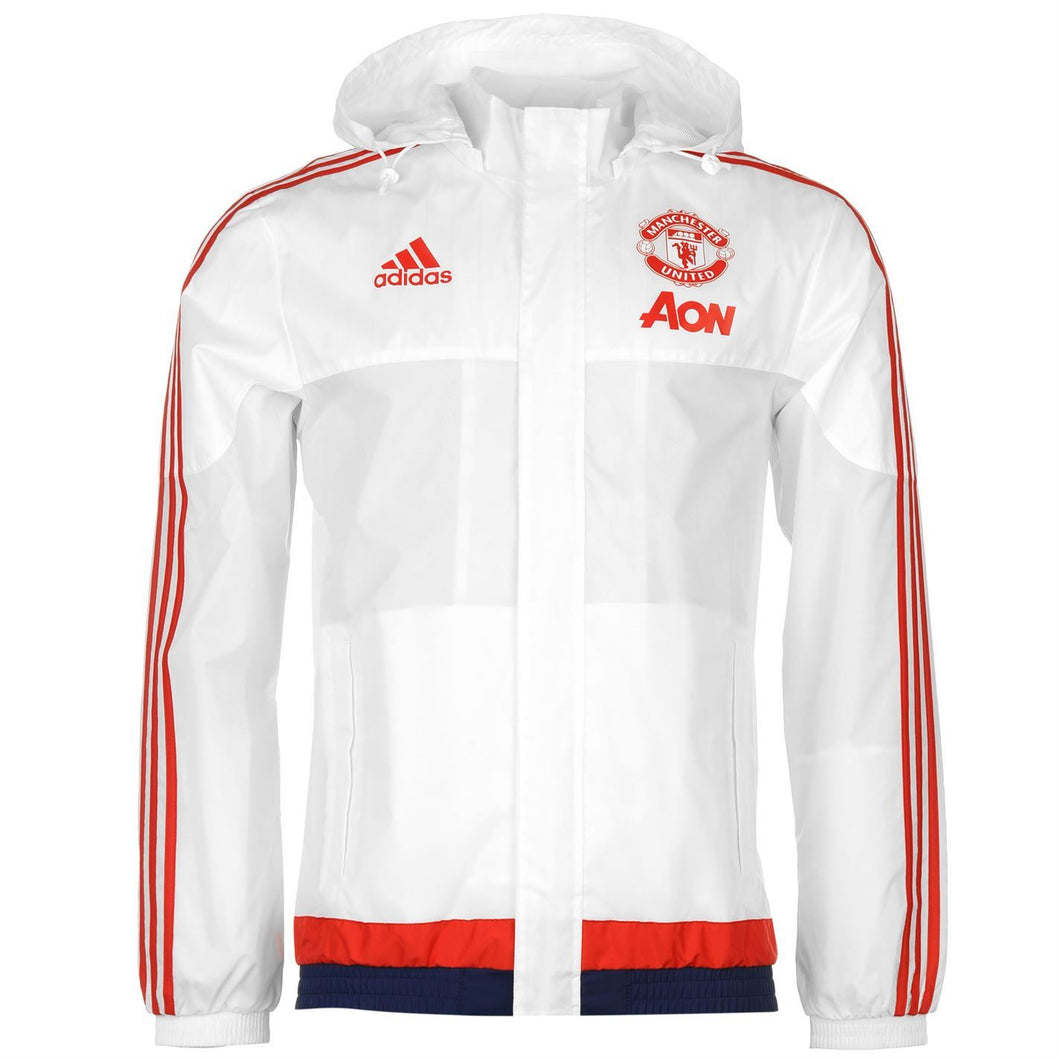 adidas Manchester United Mens White All Weather Training Jacket