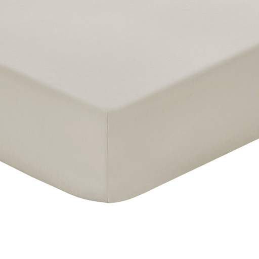 144 Thread Count Polycotton Stone Fitted Sheet