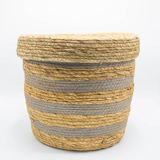 Round Woven Basket With a Lid - Grey