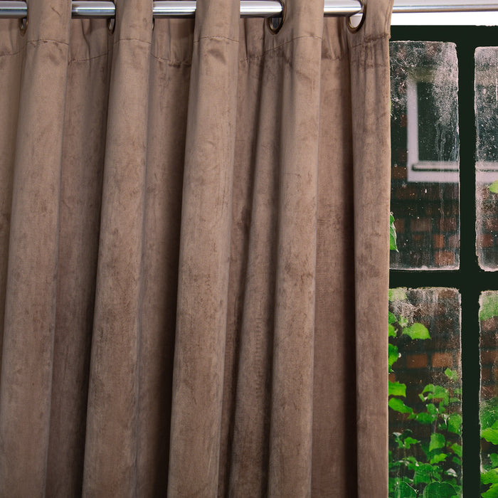 HOME.LIFE Protea Velvet Lined Eyelet Curtain - Stone