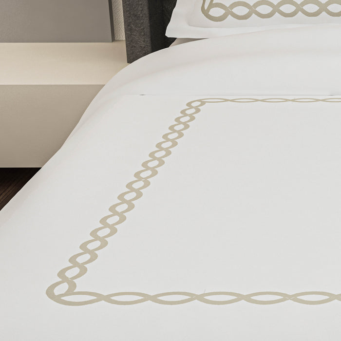 500 Thread Count Embroidered Egyptian Cotton Paros Duvet Cover Set