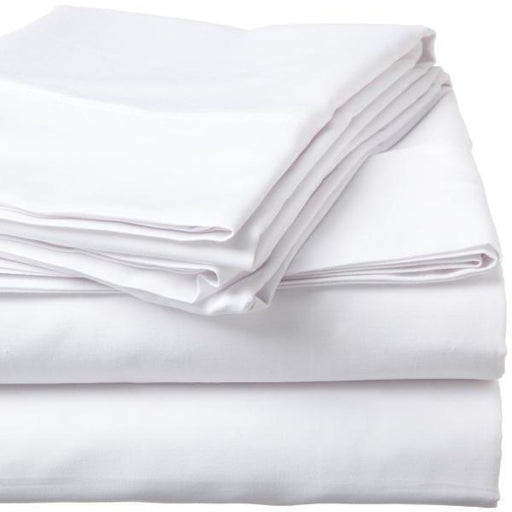 500 Thread Count Sateen Egyptian Cotton White Flat Sheet