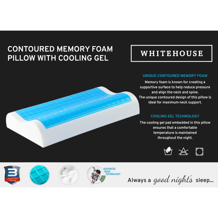 Contoured Memory Foam Pillow with Cooling Gel Pad