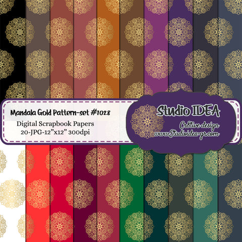 "Mandala Design- Digital Scrapbooking Paper 12""x12""- 300dpi- High Resolution Digital Design Paper- INSTANT DOWNLOAD"