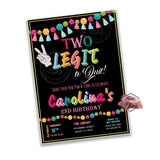 Two Legit 2 Quit Party Printable Invitation with FREE Thank you Card-DIY Digital File-2 Legit 2 Quit Pom pom Birthday Invitation -You Print