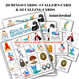 Alice in Wonderland Bingo Printable Game-20 different cards - 32 Calling cards & 1 Caller's Card -plus Bingo Printable Chips-Party Game Printable