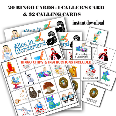 picture regarding Printable Bingo Calling Cards named Alice inside of Wonderland Bingo Printable Recreation-20 substitute playing cards - 32 Making contact with playing cards 1 Callers Card -additionally Bingo Printable Chips-Social gathering Sport Printable
