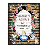 Alice in Wonderland Printable Welcome Poster-Banner- Alice in Wonderland Personalized Backdrop-Poster - Vintage Style Birthday Printable backdrop Banner