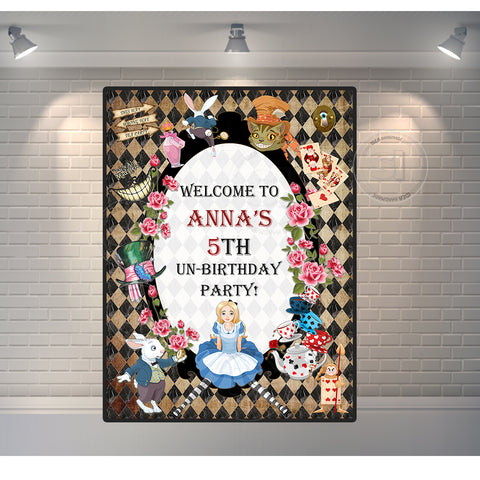 photograph about Printable Backdrop named Alice within Wonderland Printable Welcome Poster-Banner- Alice inside of Wonderland Custom-made Backdrop-Poster - Basic Structure Birthday Printable backdrop
