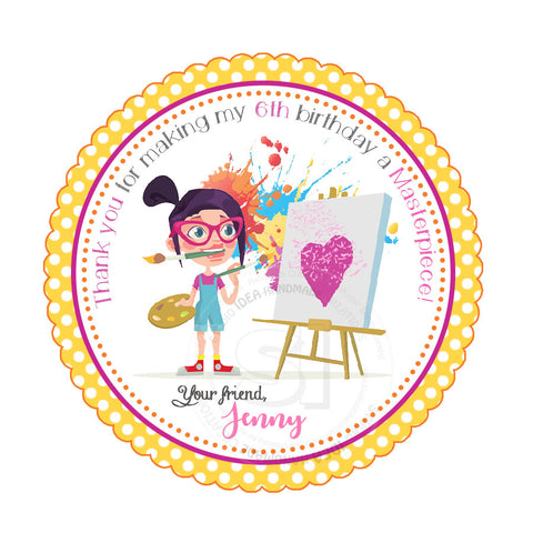 "Custom Art Party Printable 2.5"" Tags-Personalized Girl Masterpiece Theme Birthday 2.5 inches Tags- Stickers DIY Favor Tags"