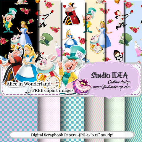 "Alice in Wonderland Digital Scrapbooking Paper 12""x12""- 300dpi- Free Clipart Images Included-Digital Design Paper- INSTANT DOWNLOAD"