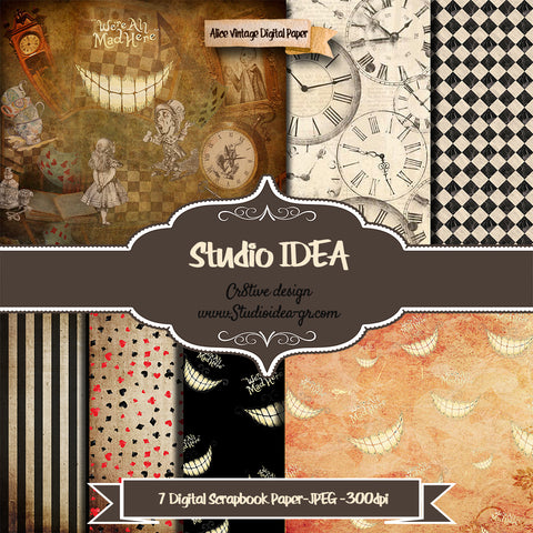 "Alice in Wonderland Digital Scrapbooking Paper 12""x12""- 300dpi- Digital Design Paper- INSTANT DOWNLOAD"