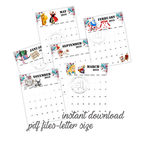 Alice in Wonderland -Letter size - Printable Monthly Calendar 2019