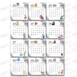 "Alice in Wonderland Printable Monthly Calendar 2018 & 2019- Printable 4""x 4"" Monthly Calendar with Bonus smaller size"