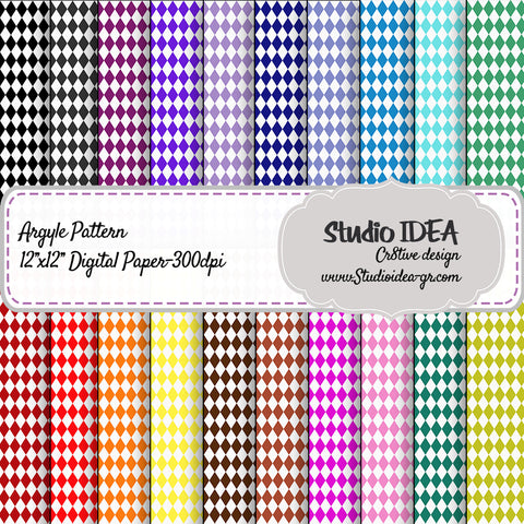 "Argyle Pattern  Design- Digital Scrapbooking Paper 12""x12""- 300dpi- High Resolution Digital Design Paper- INSTANT DOWNLOAD"