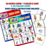 TROLLS Bingo Printable Game - 20 different cards - 36 Calling cards & 1 Caller's Card -plus Bingo Printable Chips-Party Game Printable