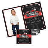 Motorcycle Theme Party Printable Invitation with FREE Thank you Tag-DIY Digital File- Biker Birthday Boy (with photo) Invitation -You Print