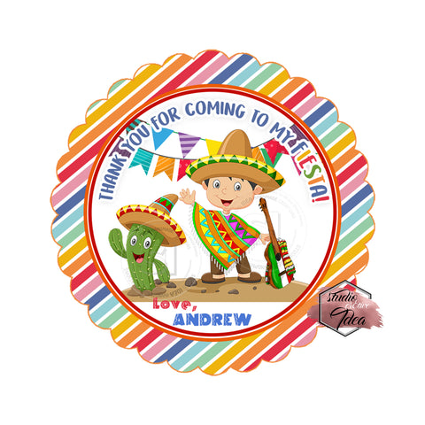 "Custom Fiesta Party Printable 2.5"" Tags-Personalized Fiesta Boy Birthday 2.5 inches Tags- Stickers DIY Favor Tags"