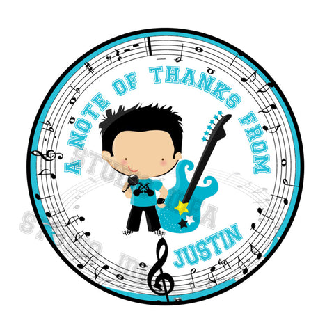 "Custom Printable Music Theme Boy Party Printable 2.5"" Tags-Personalized Music Notes- Rock Star Birthday 2.5 inches Thank you Tags- DIY Stickers, Favor Tags-Digital File"