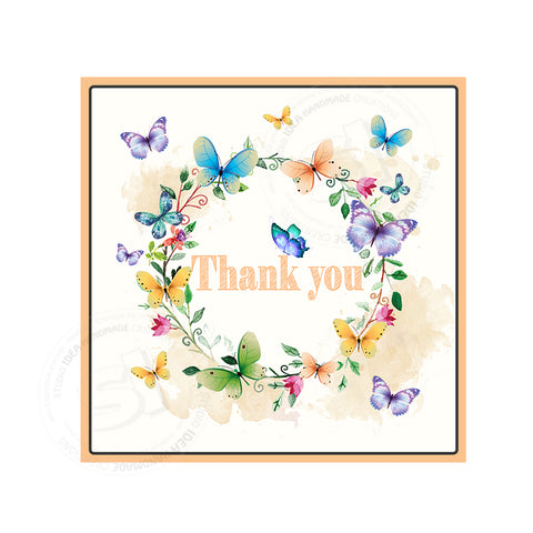 "INSTANT DOWNLOAD- Colorful Butterflies Thank you Tag-2.5"" PRINTABLE Spring Tag- Floral Wreath with Butterflies square tag- Digital File"
