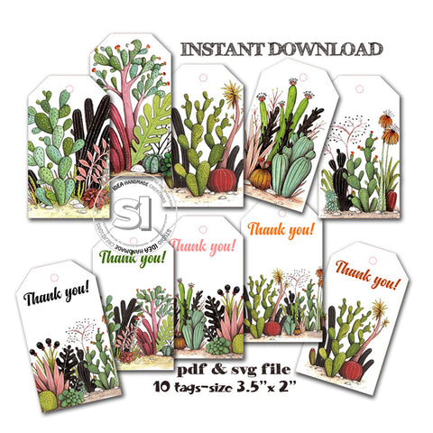 INSTANT DOWNLOAD-Cactus Theme Tags- 10 printable tags- PDF & SVG file- Digital file -You Print-Cut- Cactus theme gift tags- Fiesta tags