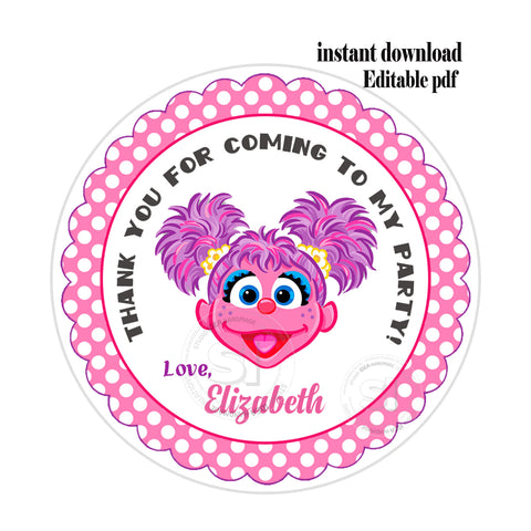 "Abby Cadabby-Sesame street Party-EDITABLE-INSTANT DOWNLOAD- Sesame Street Personalized Printable 2.5"" Tags-INSTANT DOWNLOAD Tags- Stickers DIY Favor Tags"