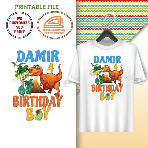 CUSTOMIZED DINOSAUR-IRON-ON TRANSFER-BIRTHDAY BOY-DINO Theme IRON ON Transfer-Birthday Boy Customized Printable file                                 Party T-Shirt prints