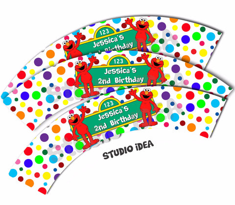 Elmo Customized Printable Cupcake Wrappers - Personalized Sesame street Liners- YOU PRINT - Digital File