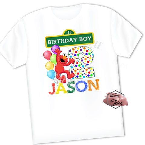 CUSTOMIZED-IRON-ON TRANSFER-BIRTHDAY BOY OR GIRL-SESAME STREET Inspired Theme IRON ON Transfer- ELMO Birthday Boy or Girl Customized Printable file                                 Party T-Shirt prints
