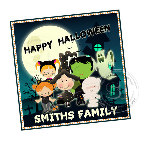 Happy Halloween Family Custom Printable 2.5'' Tags-Personalized Halloween- 2.5 inches Square Tags- Party Favor DIY Stickers - Tags -Digital file