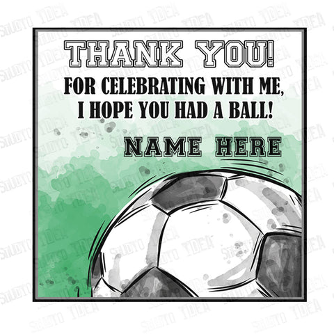 "INSTANT DOWNLOAD - EDITABLE Soccer-Football Theme Thank you Printable 2.5"" Tags-Editable PDF file -2.5 inches Tags- Stickers DIY Favor Tags"