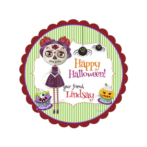 Happy Halloween Girl Custom Printable 2.5'' Tags-Personalized Happy Franken-tastic  Halloween 2.5 inches Tags- Party Favor DIY Stickers - Tags -Digital file