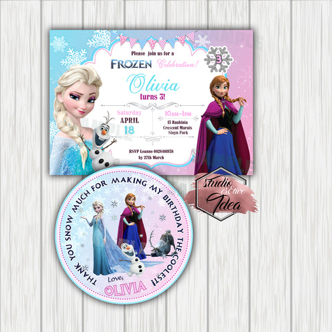 Frozen Digital Invitation and tag-Custom Order for Gill