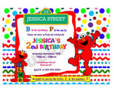 Custom Elmo Birthday Invitation with FREE matching Thank you Tag- Printable Elmo and Friends, Sesame street Invitations-Personalized Birthday, Baby Shower Thank you Tags-Digital File-YOU PRINT