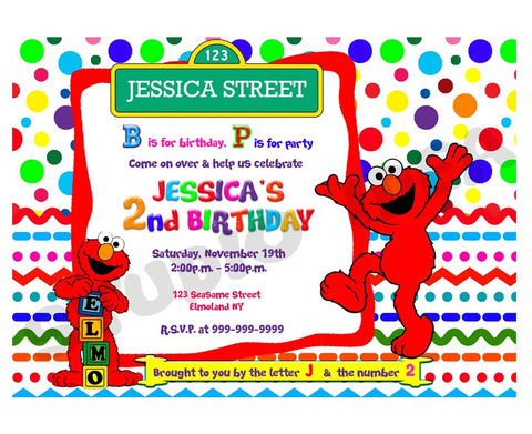 custom elmo birthday invitation with free matching thank you tag